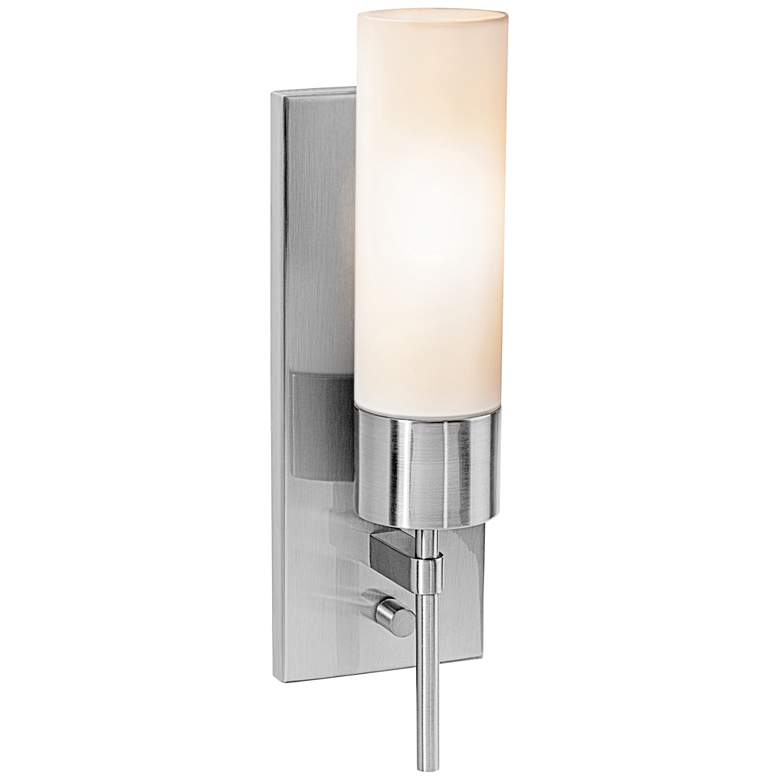 """Iron 14 1/2"""" High Brushed Steel Wall Sconce"""