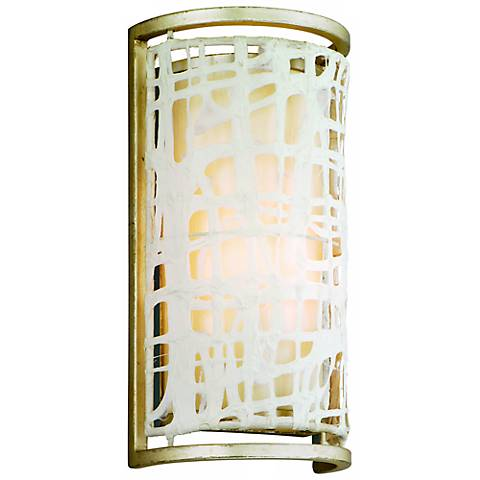 """Corbett Kyoto Japanese Paper 12"""" High Silver Wall Sconce"""