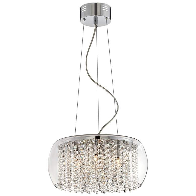 "Possini Euro Crystal Rainfall 17"" Wide Glass Drum Chandelier"