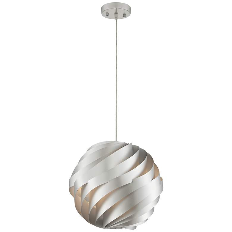 """Possini Euro Design Silver Waves 13 3/4"""" Wide Pendant Light"""
