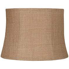 Country cottage lamp shades lamps plus natural burlap medium drum lamp shade 12x14x10 spider aloadofball Images