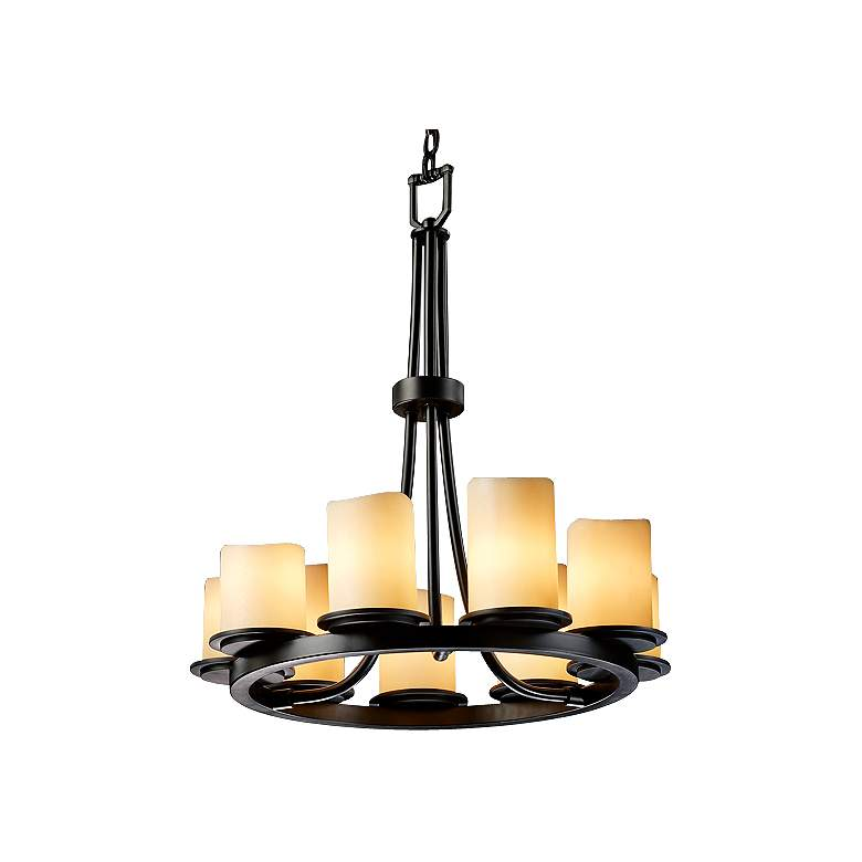 9-Light Ring Black & Creme Faux Candle Chandelier