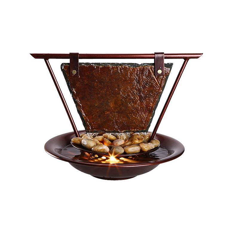 "Mini Haiku Moon 13"" High Tabletop Fountain with Light"