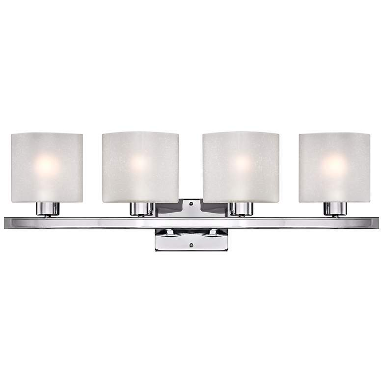 "Possini Euro Linen Glass 32"" Wide Chrome 4-Light Bath Light"