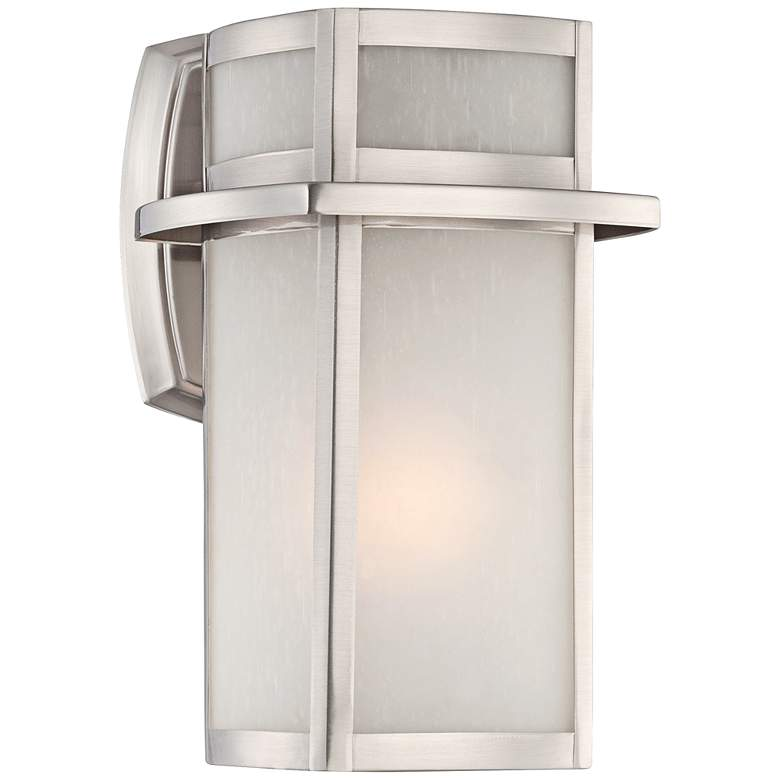 "Delevan 11 1/4"" High Brushed Nickel Outdoor Wall Light"