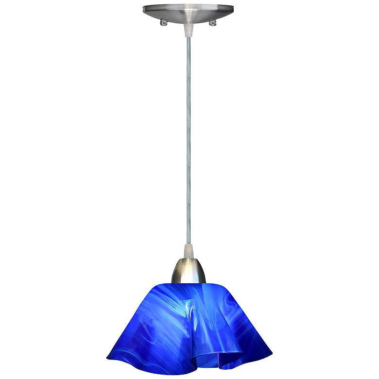 "Jezebel Radiance™ Lily 8"" Wide Cobalt Navy Blue Mini Pendant"
