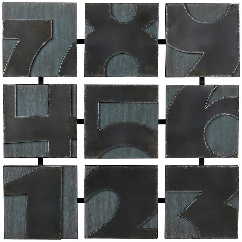 "Metal Numbers 28 1/2"" Square Wall Art"