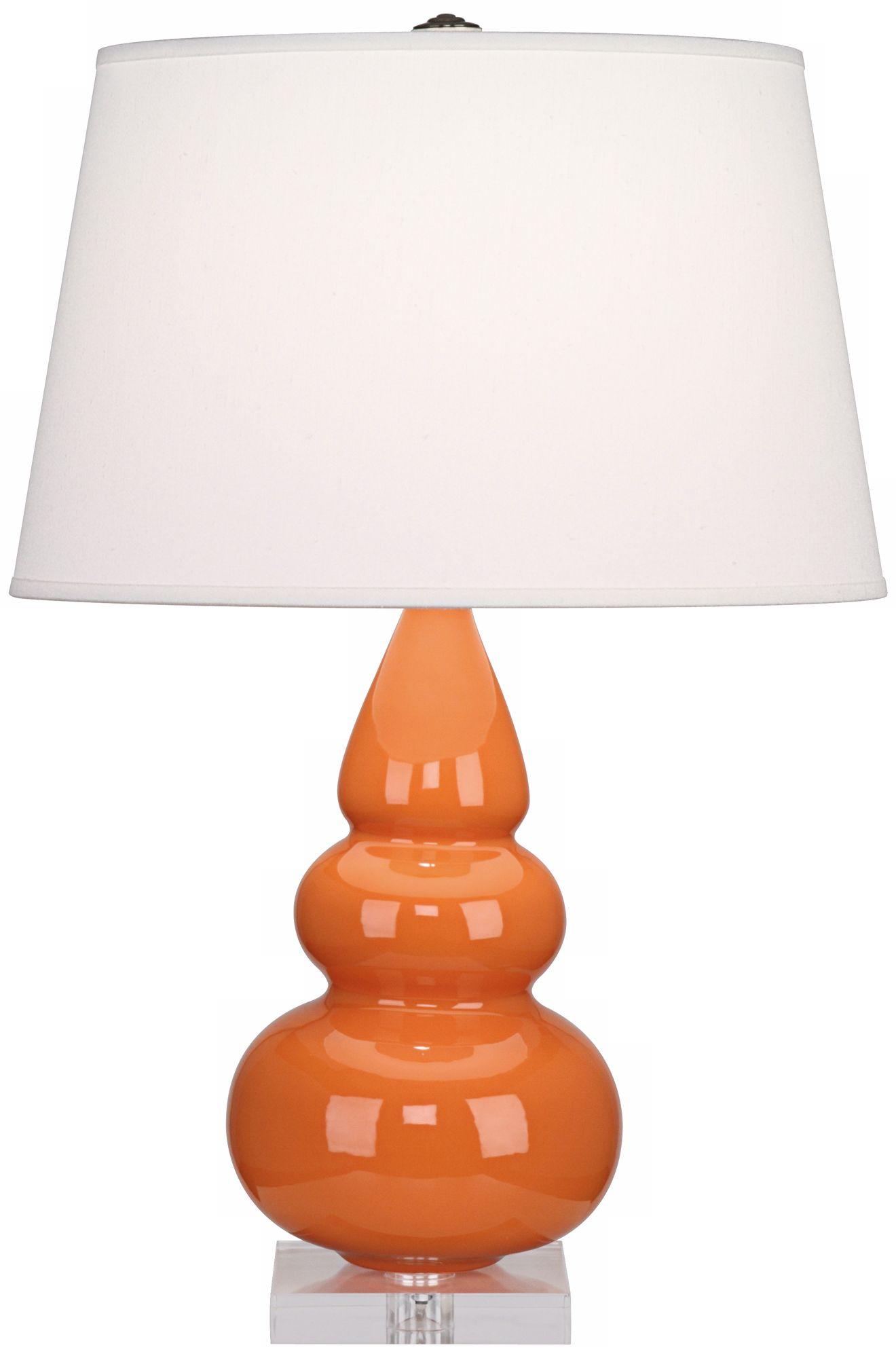 Wonderful Robert Abbey Triple Orange Glazed Ceramic Table Lamp