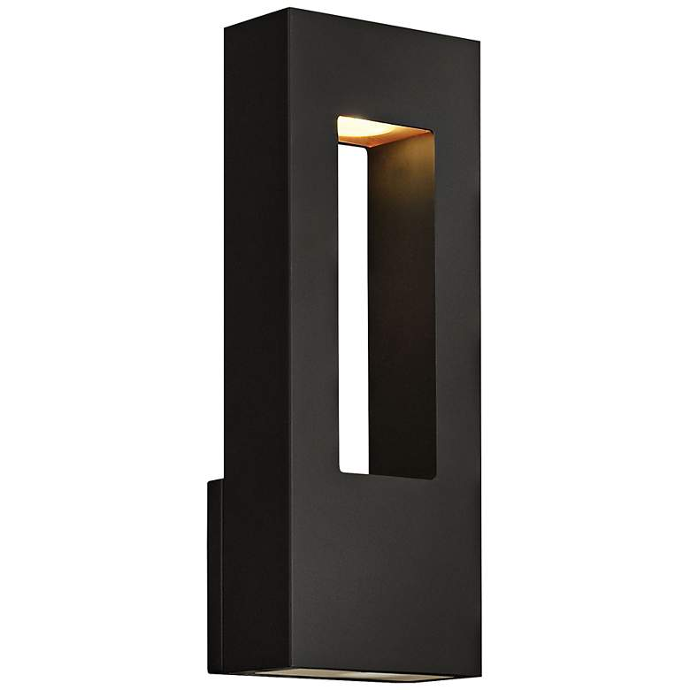 """Atlantis 16""""H Black and Frosted Glass LED Outdoor Wall Light"""