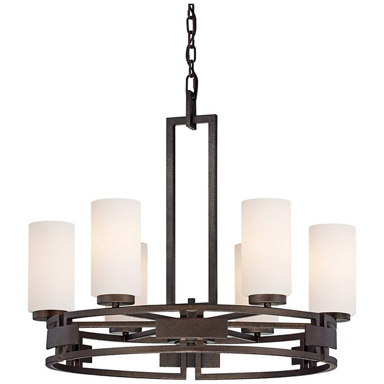 "Del Ray Bronze Finish Faux Candle 28"" Wide Chandelier"