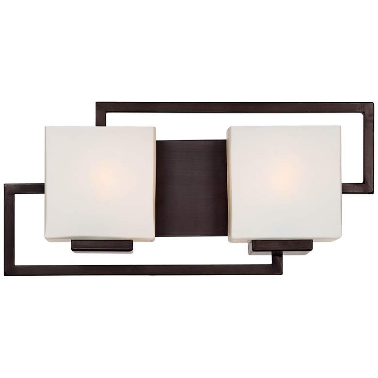"""Lighting on the Square Bronze 17"""" Wide Bath Wall Light"""