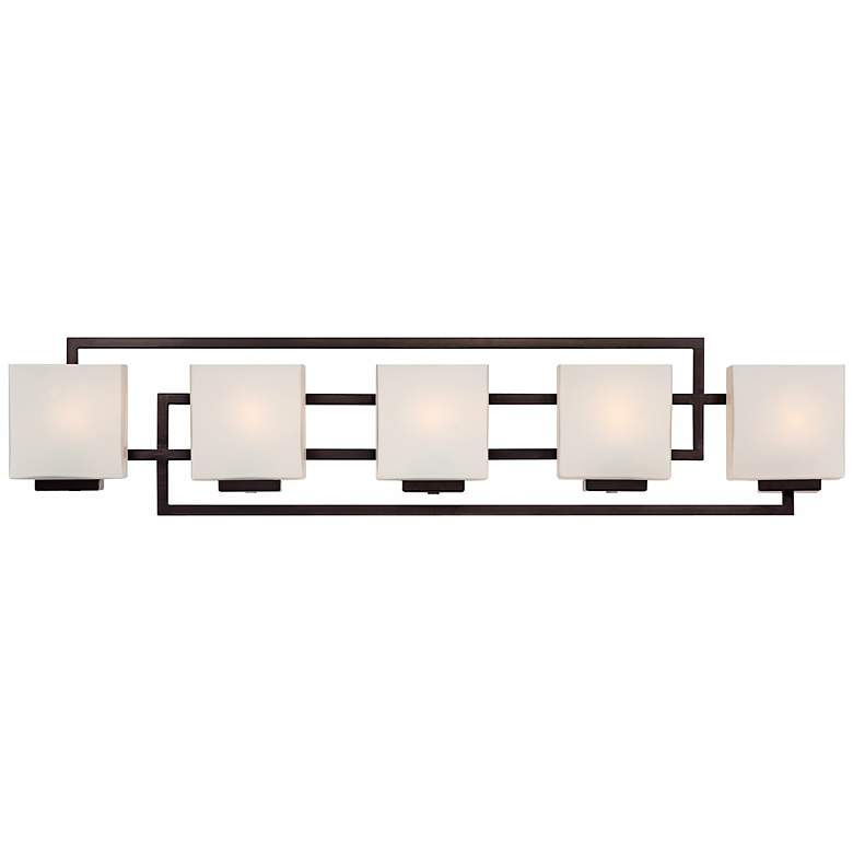 """Lighting on the Square 37"""" Wide Bronze Bath Wall Light"""