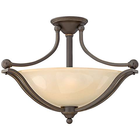 "Bolla 23 1/4""W Bronze Ceiling Light w/ Amber Seedy Glass"