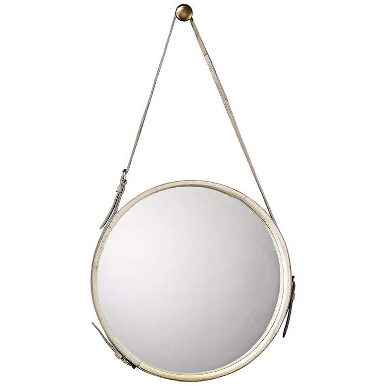 Jamie Young White Leather Strap 26 Round Wall Mirror
