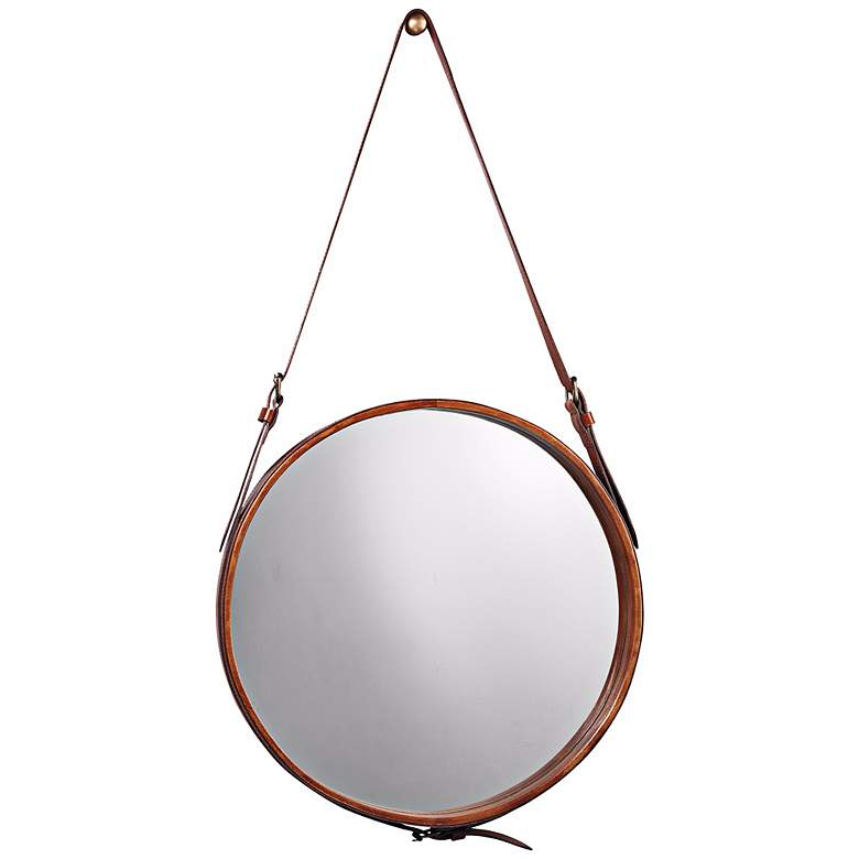 """Jamie Young Leather Strap 16"""" Round Wall Mirror"""