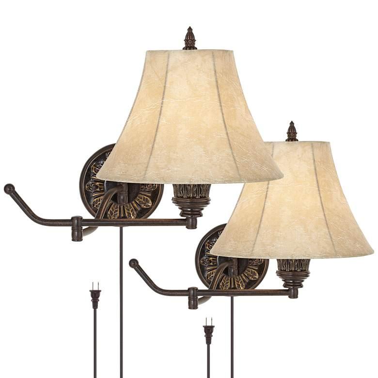Rosslyn Set of 2 Bronze Plug-In Swing Arm Wall Lamps