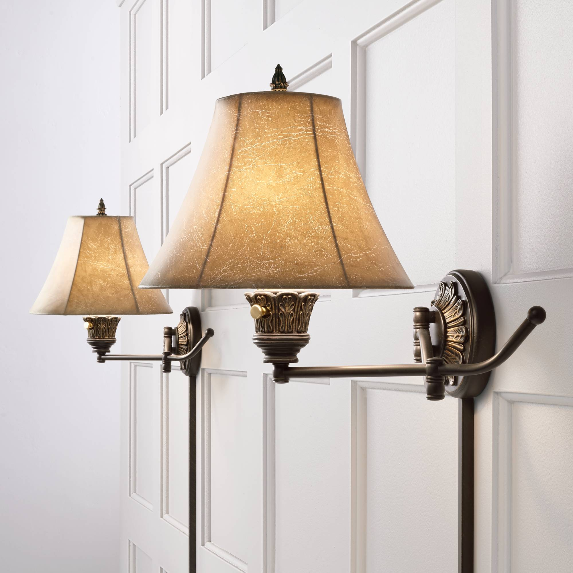 Details About Swing Arm Wall Lights Plug In Set Of 2 Lamps French Bronze For Bedroom Reading