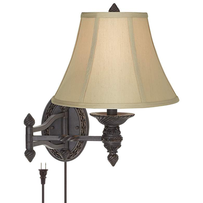 Godia Bronze Oval Plug-In Swing Arm Wall Lamp