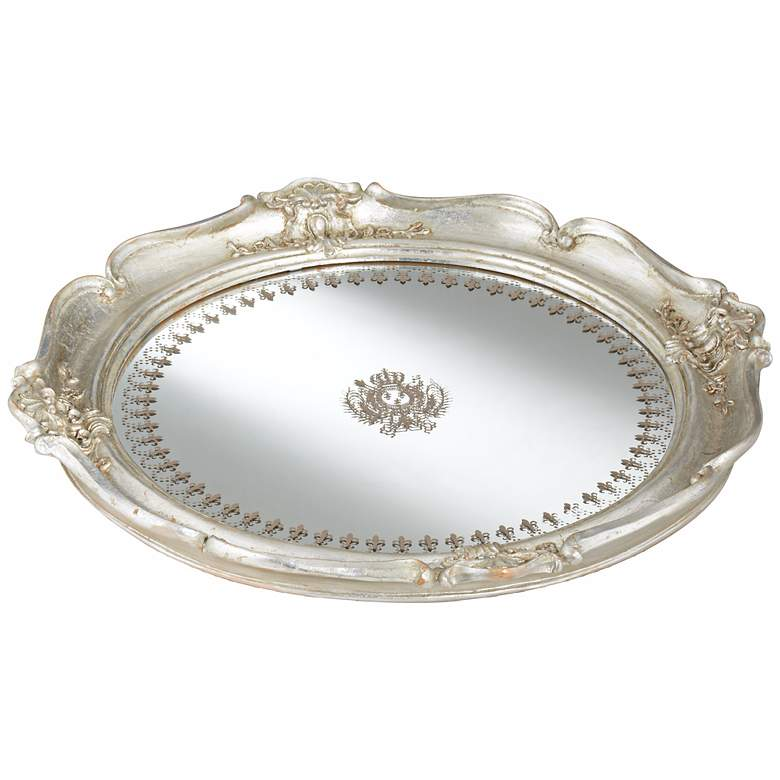 "Script Pattern 14 1/2"" Wide Round Silver Mirrored Tray"