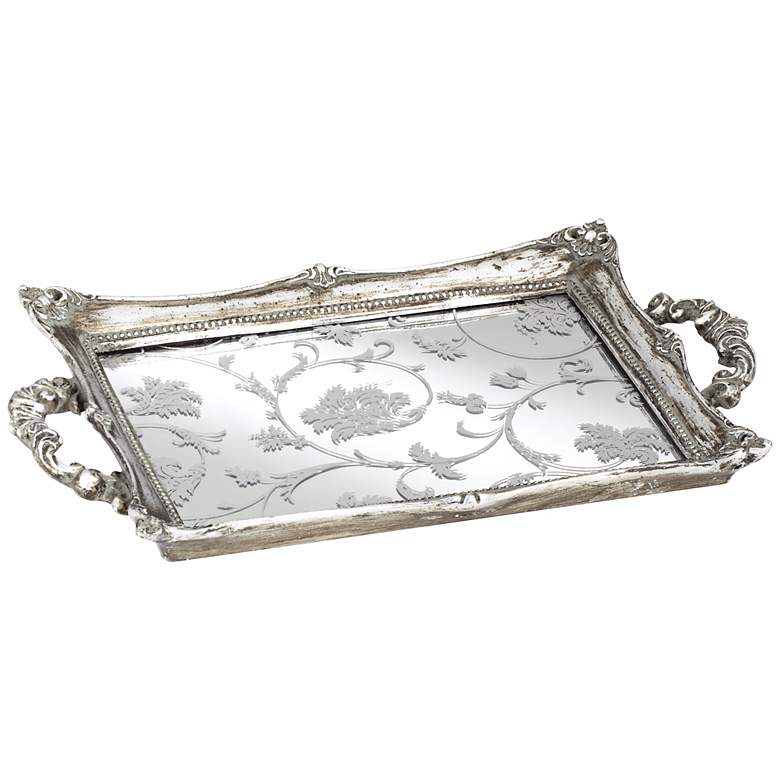 """Floral Pattern 13"""" Wide Silver Mirrored Decorative Tray"""