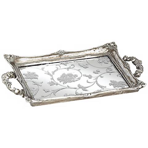 "Floral Pattern 13"" Wide Silver Mirrored Decorative Tray"