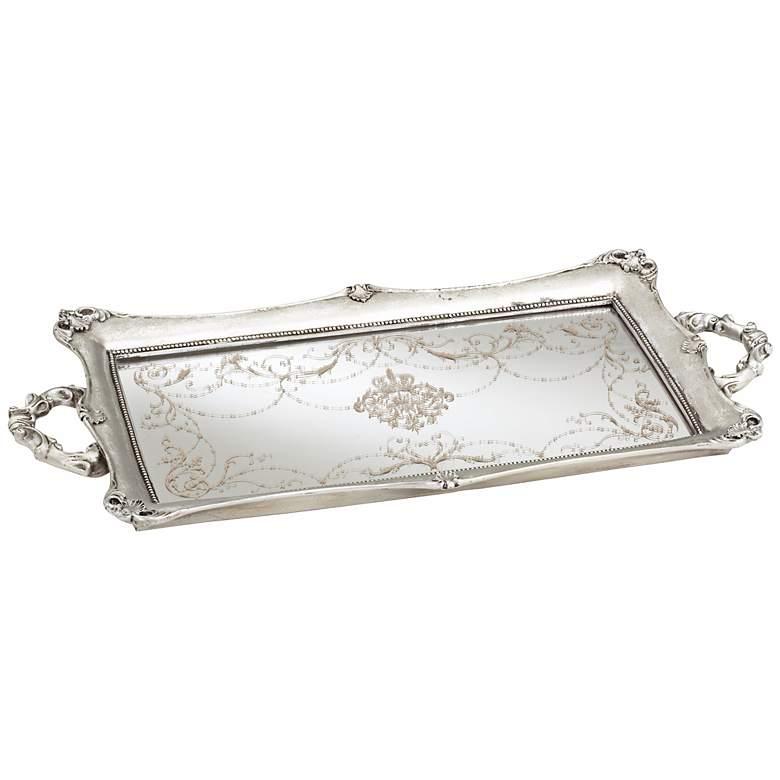 "Victoria Large 22 1/2"" Wide Silver Mirrored Decorative Tray"