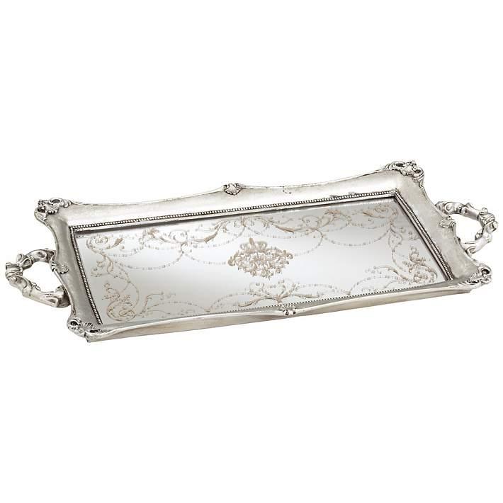 Wide Silver Mirrored Decorative Tray, Silver Mirror Tray Decor