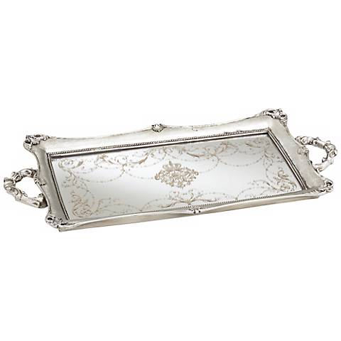 "Victoria Large 22 1/2"" Wide Silver Mirrored Decorative Tray"