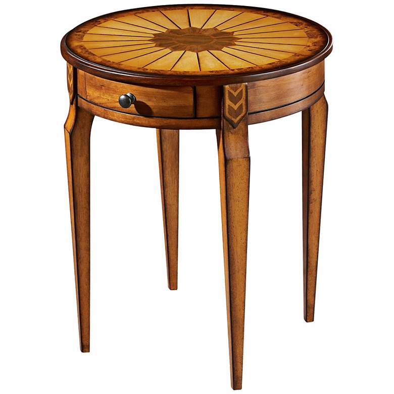 """Olive 20"""" Wide Ash Burl Inlay Traditional Side Table"""
