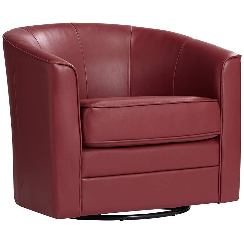 Keller Scarlet Red Bonded Leather Swivel Club Chair