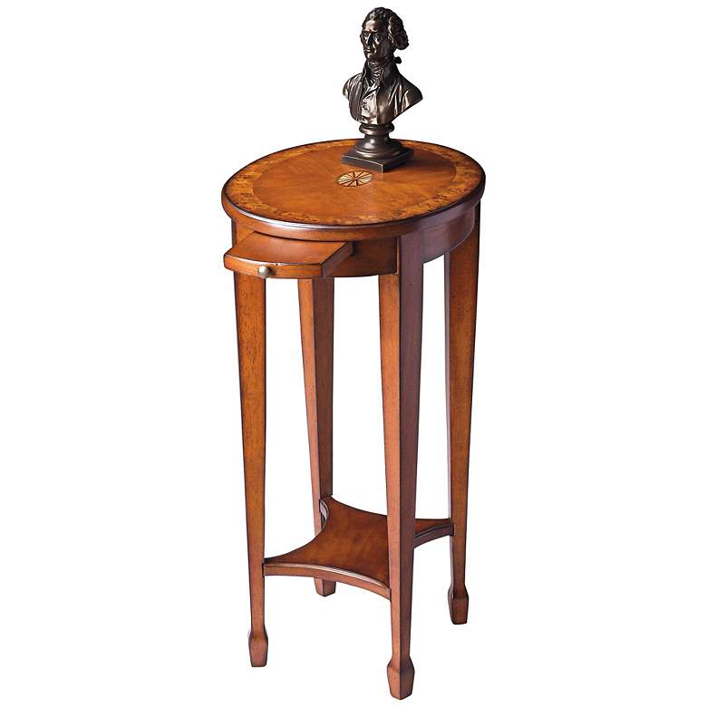 """Olive 15"""" Wide Ash Burl Pull Tray Traditional Accent Table"""
