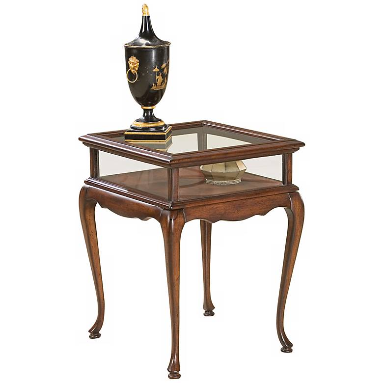 """Plantation 18"""" Wide Cherry and Glass Curio Table"""