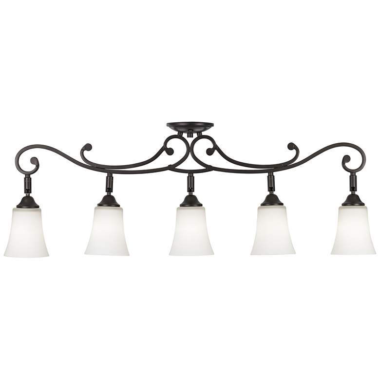 Leaf and Vine White Painted Glass 5-Light Track Fixture