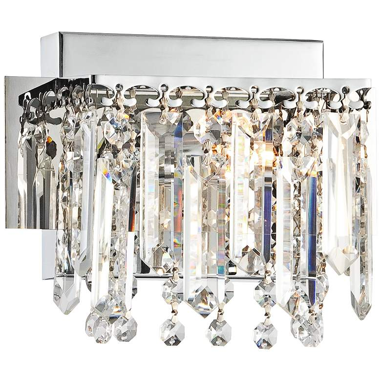 """Possini Euro Hanging Crystal 7 3/4"""" Wide Chrome Wall Sconce"""