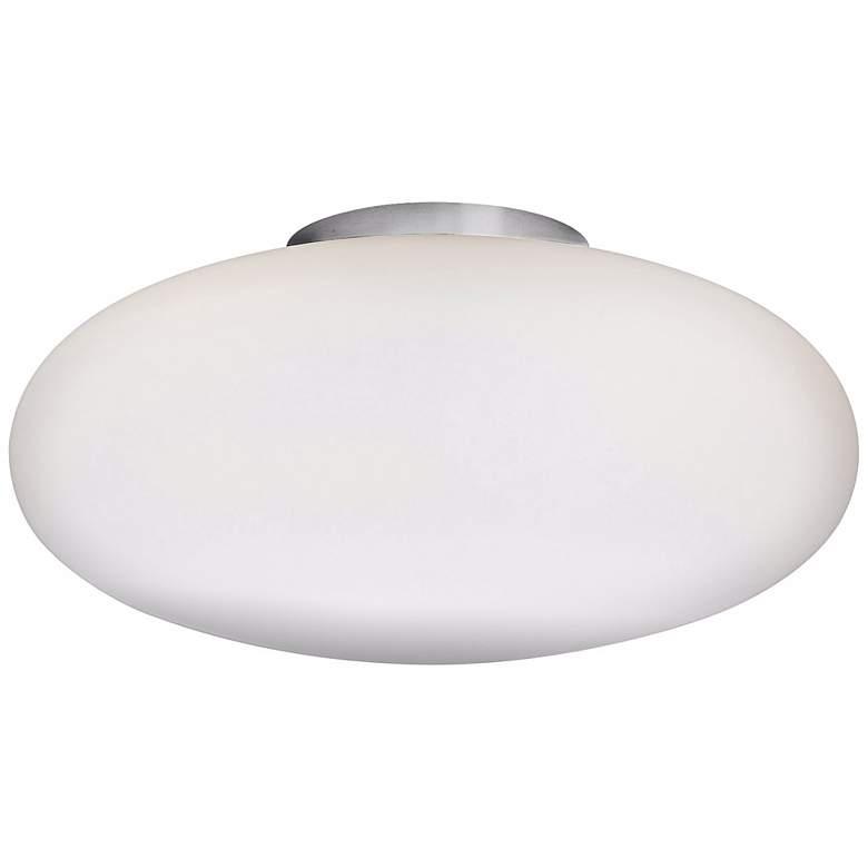 """Holtkoetter Satin Nickel 13 1/2"""" Wide Flush Ceiling Light"""
