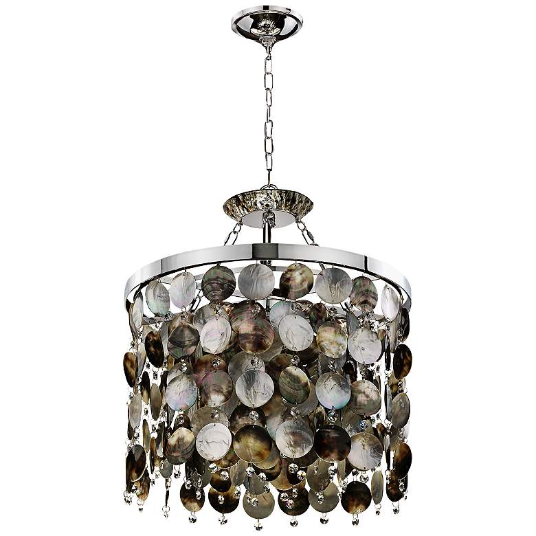 """Black Magic Crystal and Pearl 19"""" Wide Pendant Chandelier"""