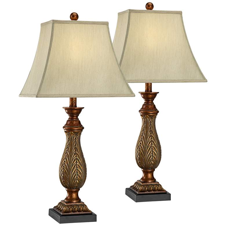 Amps Plus: Two-Tone Gold Traditional Table Lamps Set Of 2