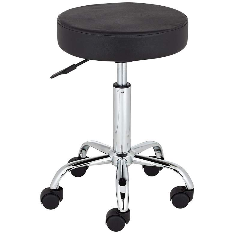 Kelly Rolling Chrome Adjustable Swivel Office Stool