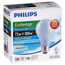 EcoVantage 72 Watt 2 Pack Natural Light Halogen Bulbs
