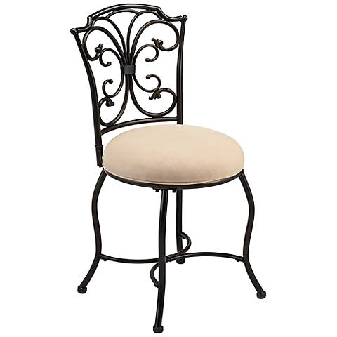 Hillsdale Sparta Black And Gold Finish 19 Quot Vanity Stool