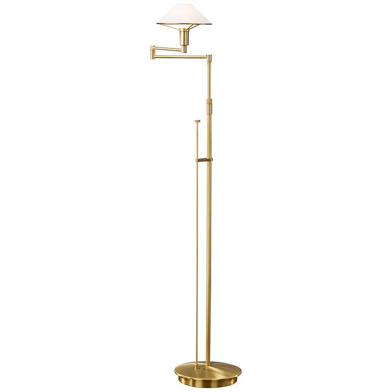 Antique Brass and Satin White Glass Holtkoetter Floor Lamp