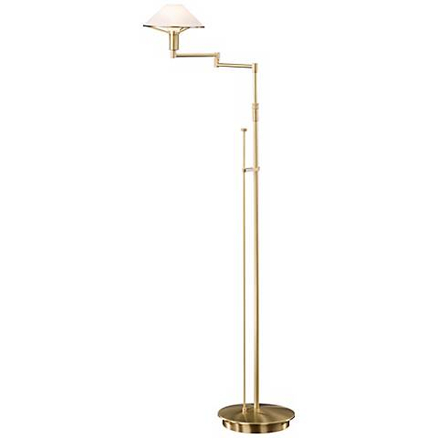 brushed brass satin white swing arm holtkoetter floor lamp u6630 lamps plus. Black Bedroom Furniture Sets. Home Design Ideas