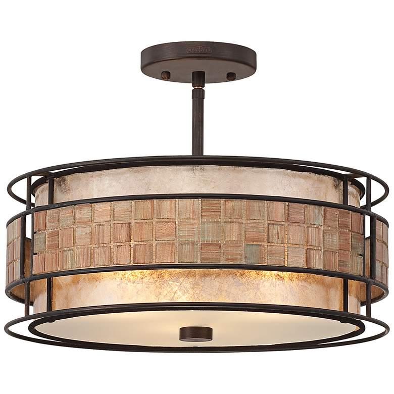 "Laguna 16""W Renaissance Copper Ceiling Light w/ Glass Shade"