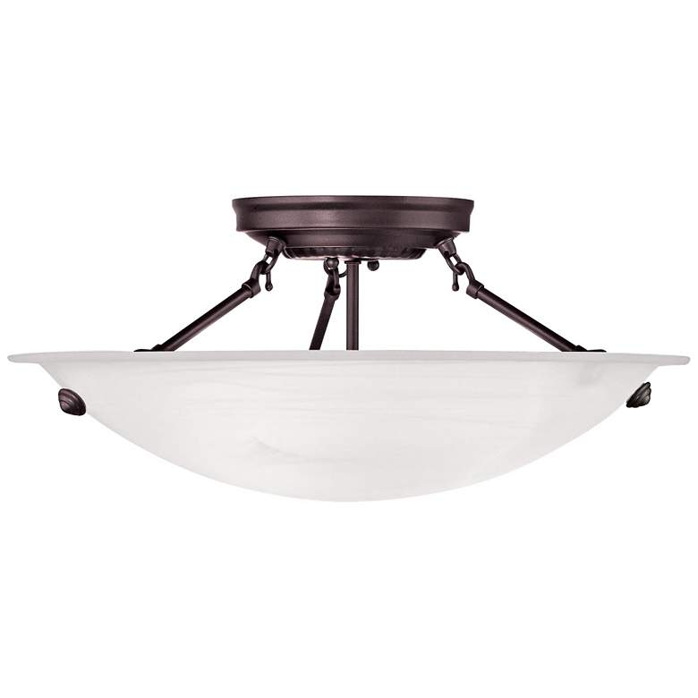 "Oasis 16"" Wide Bronze and Alabaster Bowl Ceiling Light"