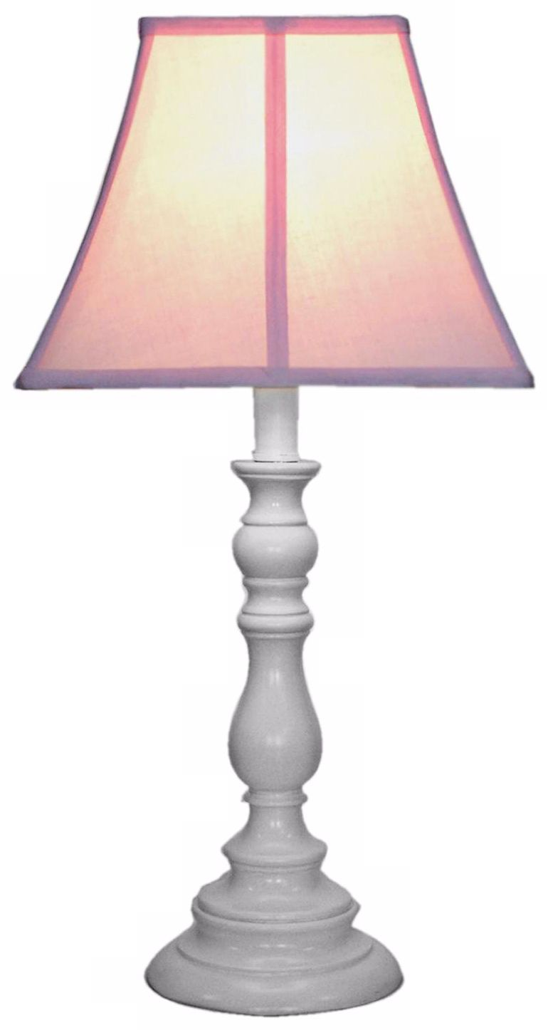 Pink Shade With White Candlestick Base Table Lamp