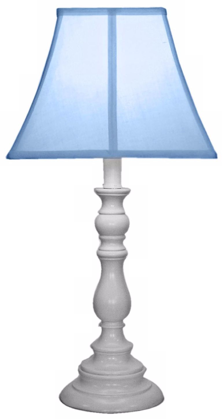 Light Blue With White Candlestick Base Table Lamp