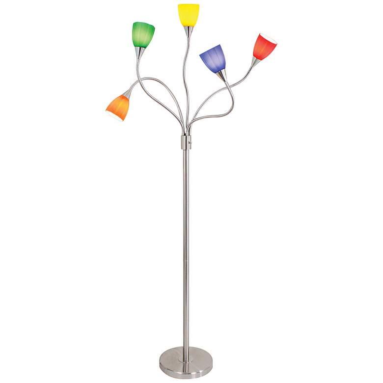 Multi-Color Glass 5-Arm Floor Lamp