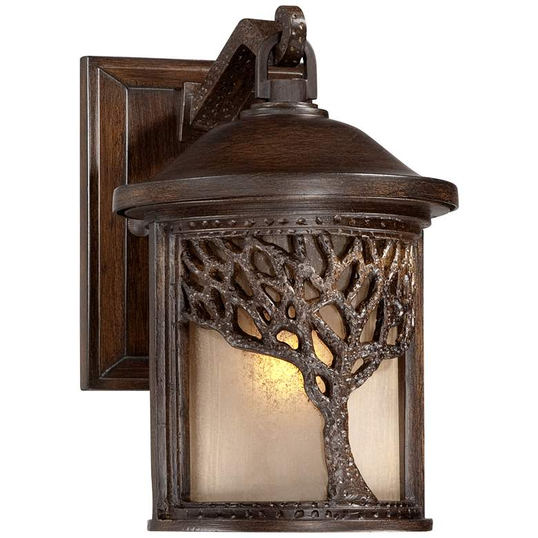 """Bronze Mission Style Tree 9 1/2"""" High Outdoor Wall Light"""
