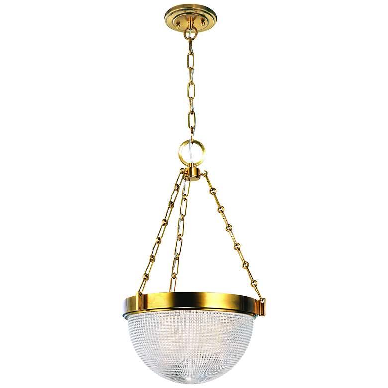 """Hudson Valley Winfield 15 3/4"""" Wide Aged Brass Pendant Light"""