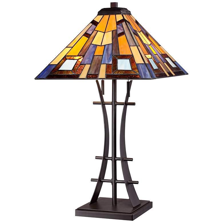 Jewel Tone Tiffany Style Art Glass Iron Base Table Lamp